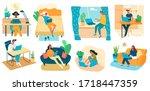 freelance people work in... | Shutterstock .eps vector #1718447359