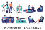 stay at home in quarantine ... | Shutterstock .eps vector #1718453629