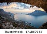 female rock climber against...   Shutterstock . vector #171850958