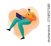businessman concept male using... | Shutterstock .eps vector #1718527180
