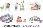people spending time at home... | Shutterstock .eps vector #1718547616