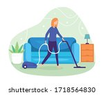 clean the floor and carpet with ... | Shutterstock .eps vector #1718564830