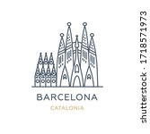 barcelona city  spain. line... | Shutterstock .eps vector #1718571973