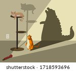fat orange cat looking up to a... | Shutterstock .eps vector #1718593696
