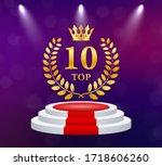 top 10. golden laurel wreath... | Shutterstock .eps vector #1718606260