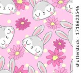 cute rabbit and flowers sketch... | Shutterstock .eps vector #1718623546