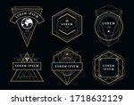 set of vintage emblems with...   Shutterstock .eps vector #1718632129