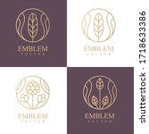 nature logo set. floral logo.... | Shutterstock .eps vector #1718633386