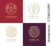 nature logo set. floral logo.... | Shutterstock .eps vector #1718633389