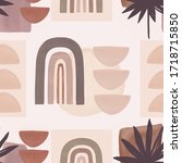 nordic print with geometric ... | Shutterstock . vector #1718715850
