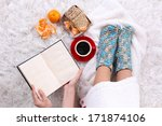 composition with warm plaid ... | Shutterstock . vector #171874106