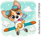 cute cartoon corgi is flying on ...   Shutterstock .eps vector #1718743426