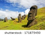 CHILE -FEBRUARY 6: Moais in Rapa Nui National Park on the slopes of Rano Raruku volcano on Easter Island, Chile.