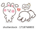 rabbit angry and sad feeling... | Shutterstock .eps vector #1718768803