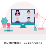 group of people doing video... | Shutterstock .eps vector #1718773846