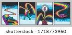 psychedelic 1960s rock music... | Shutterstock .eps vector #1718773960