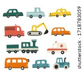 Set Of Different Cars. Hand...
