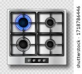 Gas Stove Top View With Blue...
