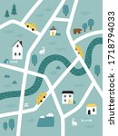 cute kids map with roads ... | Shutterstock .eps vector #1718794033
