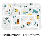cute town map for kid's room.... | Shutterstock .eps vector #1718794396