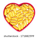 Fish Oil Pills In Red Heart...