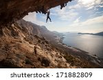 rock climber climbing at the... | Shutterstock . vector #171882809