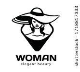 abstract woman hat logo vector... | Shutterstock .eps vector #1718857333