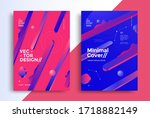 set posters with 3d gradients... | Shutterstock .eps vector #1718882149