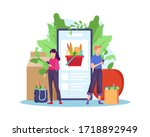 order grocery online. order... | Shutterstock .eps vector #1718892949