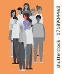 woman avatar in color between... | Shutterstock .eps vector #1718904463