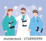 doctors and nurses  team...   Shutterstock .eps vector #1718905990