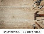 Used Tools On Wooden Workbench