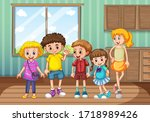 group of kids at home... | Shutterstock .eps vector #1718989426