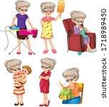 set of grandmother doing... | Shutterstock .eps vector #1718989450