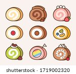 roll cake set  with different...   Shutterstock .eps vector #1719002320