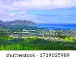 Kaneohe residential area, Kaneohe bay and sandbar seen from the Nuuanu Paris observatory on Oahu, Hawaii