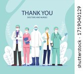 thank you doctors and nurses | Shutterstock .eps vector #1719040129