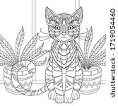 coloring pages for adult. funny ... | Shutterstock .eps vector #1719054460