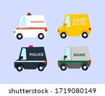 set of van vehicle  bank cash ... | Shutterstock .eps vector #1719080149