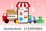 vector delivery online shopping ... | Shutterstock .eps vector #1719092803