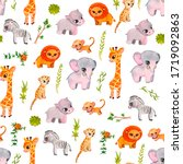 watercolor african baby animals ...   Shutterstock . vector #1719092863