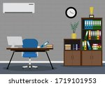 business workspace with office... | Shutterstock .eps vector #1719101953