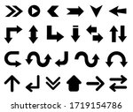 black arrow icons set. vector... | Shutterstock .eps vector #1719154786