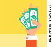 cash on hand vector cartoon... | Shutterstock .eps vector #171916334