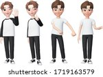 set of male facial emotions... | Shutterstock .eps vector #1719163579