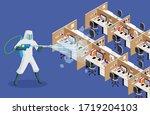 sanitize office for covid 19... | Shutterstock .eps vector #1719204103