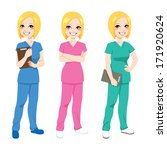 Beautiful happy blonde nurse posing in three different color scrubs uniform