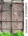 Old Wooden Door Decorated With...