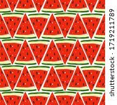 watermelon texture. food... | Shutterstock .eps vector #1719211789