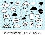 doodle cloud crown  face  heart ... | Shutterstock .eps vector #1719212290